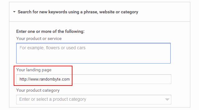 google keyword planner ideas