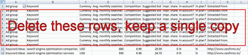 excel sort keywords