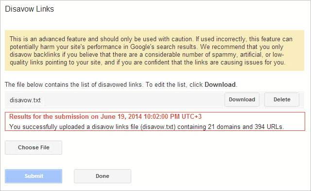 successful link disavow submission