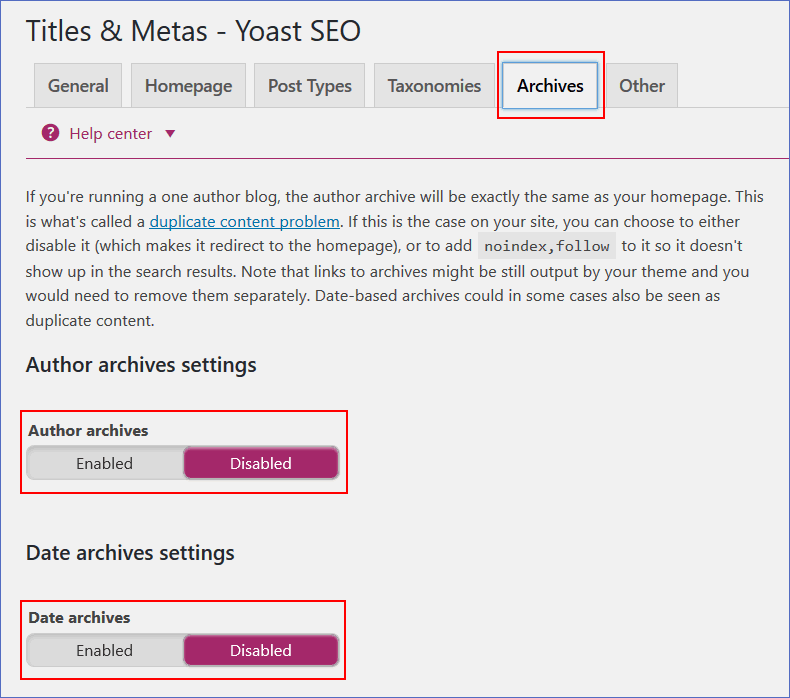 disable author and date archives