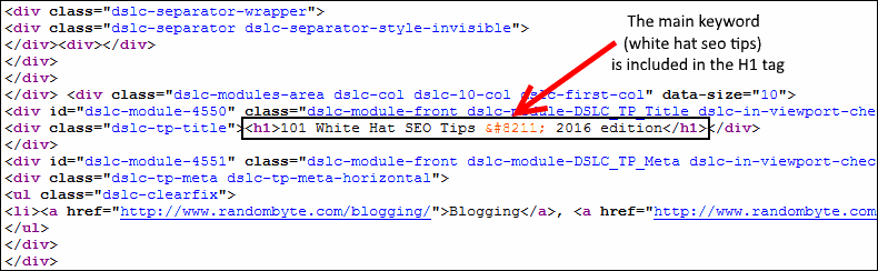 keyword rich h1 and image tags