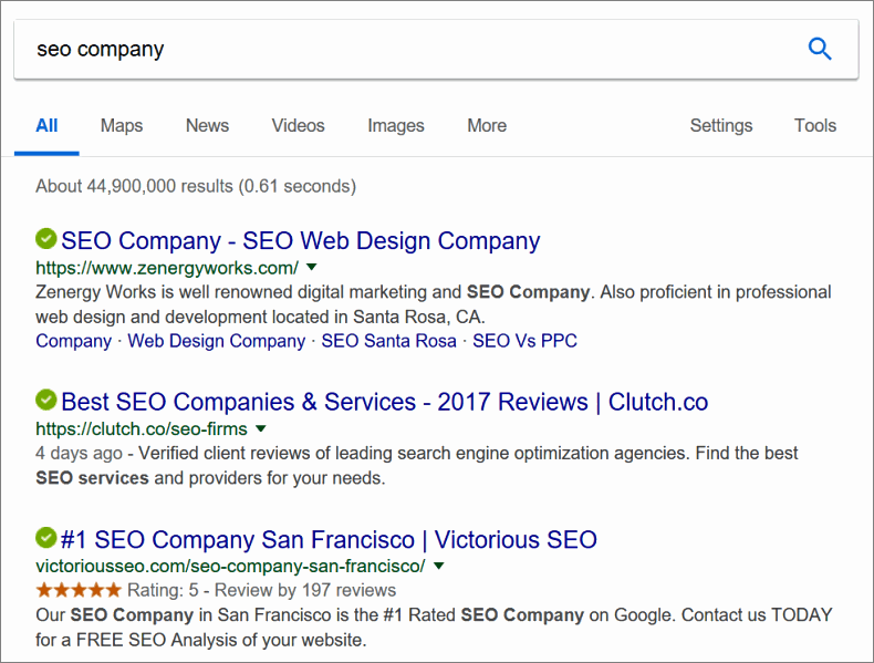 seo company search results